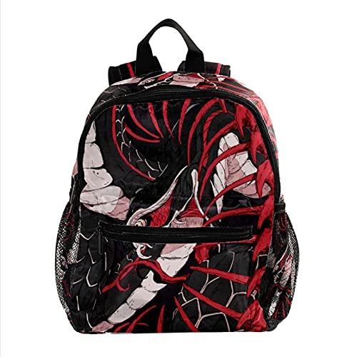 Mochila Escolar Serpiente Backpack Primaria Pequeña Guardería Mochila Preescolar para Niños de 3-8 Años 25.4x10x30 CM
