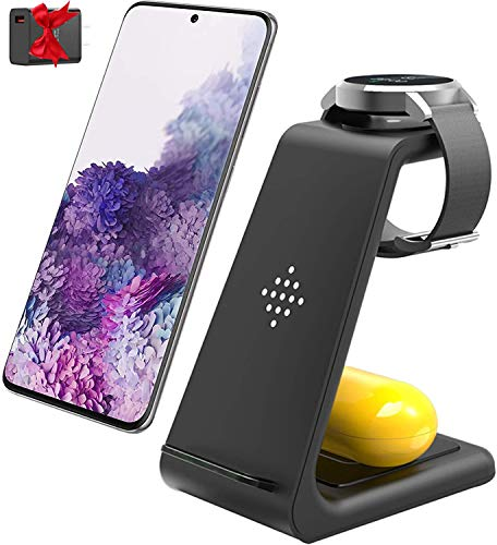 Wireless Charger 3 in 1 Fast Wireless Charging Station Qi-Certified Charging Stand for Samsung Galaxy Watch Active2/1,Gear S3/S2,Galaxy Buds Live,Samsung S20/S10/S10e/Note 20 Ultra 10/9/8/Z Flip