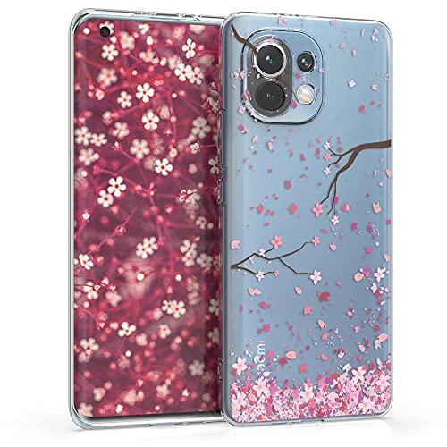 kwmobile Hülle kompatibel mit Xiaomi Mi 11 - Hülle Handy - Handyhülle - Kirschblütenblätter Rosa Dunkelbraun Transparent