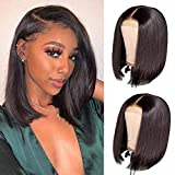 TOOCCI Parrucca Donna Capelli Umani 4x4 Lace Front Wigs Human Hair Straight Short Bob Wig Natural Color Brasiliani Vergini Veri Glueless Wig with Natural Hairline 14inch
