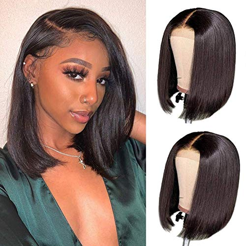 Bob Wigs Human Hair Wigs 4X4 Lace Closure for Black Women Brazilian Virgin Lace Front Bob Wig Pre Plucked Natural Hairline with Baby Hair Bleached Knots 12 Inch 150% Density