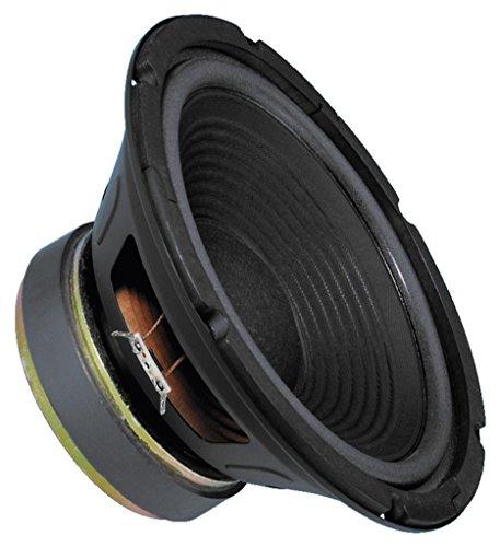 MONACOR SP-250P Tieftöner mit Polkernbohrung, 100 Watt Nennbelastbarkeit und einer Impedanz von 8 Ohm, Bass-Lautsprecher mit einer großen linearen Auslenkungsfähigkeit, 10 Zoll, in Schwarz