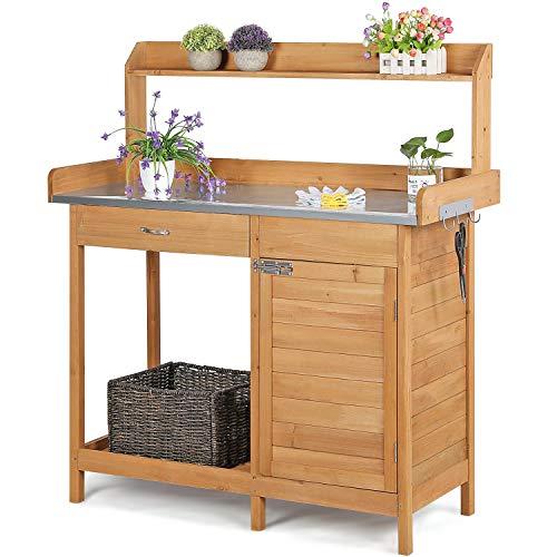 Topeakmart Outdoor Potting Bench Table Work Station Garden Planting with Cabinet & Drawer & Top Shelf & Lower Shelf Natural Wood