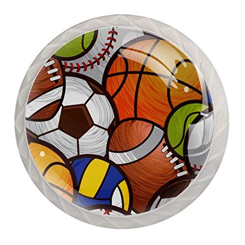 Xingruyun Schrank Knöpfe Handgriffe Basketball Fußball Fußball Baseball Moebelknauf Griff Weiß Kommode Möbelknöpfe 4 Stück 3.5×2.8CM
