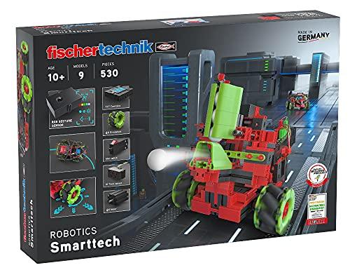 fischertechnik 559891 Bausatz Robotics SmartTech mit coolen Omniwheels-9 spannende Roboter Modelle zum Bauen und Programmieren für Kinder ab 10 Jahren, Schwarz