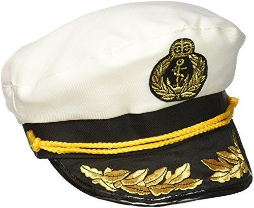 Forum Novelties- Yacht Captain's Hat Couvre-Chef de Costume, 56771, Blanc, Taille Unique