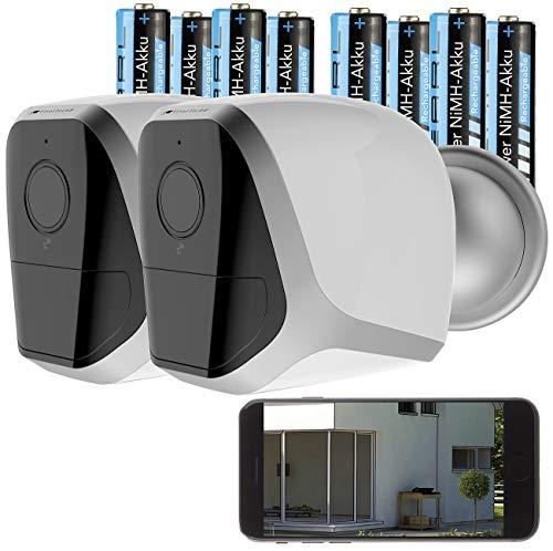 VisorTech Outdoor Kamera: 2er-Set Full-HD-IP-Überwachungskameras, 12 Monate Stand-by, 8 Akkus (WLAN Überwachungskamera)