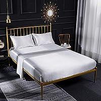 寝具カバー 布団カバー 寝具セット スーパーソフトシルキー 滑らかなサテンの高級ホテルの寝具 ディープポケットシートセット付き sjkj (Color : White, Size : KING-10pcs)