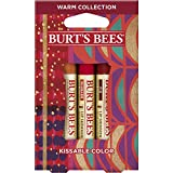 Burt's Bees Kissable Color Holiday Gift Set, 3 Lip Shimmers in Gift Box, Warm Collection in Peony,...