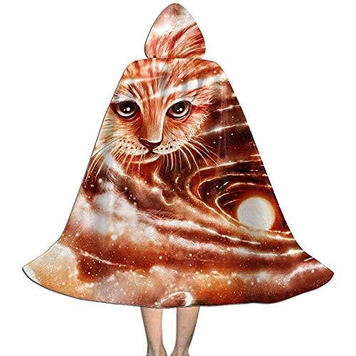 Rexing Hexengewand,Kinder Umhang Hut,Kap Mit Kapuze,Vampir Kleid Umhang, Die Raumbesucher Niedlichen Katzen Halloween Mit Kapuze Mantel Kostüme L