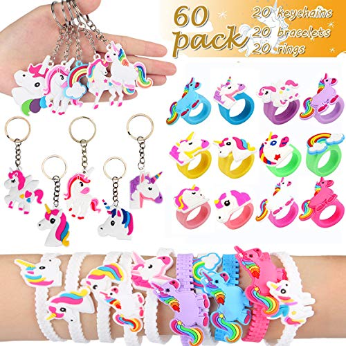 Aitey Unicorn Party Favors Supplies, Rainbow Birthday Theme Assorted Kit, Bracelets, Rings and Keychains Bulk Toys for Carnival Prizes for Kids and Girls (60 Pack