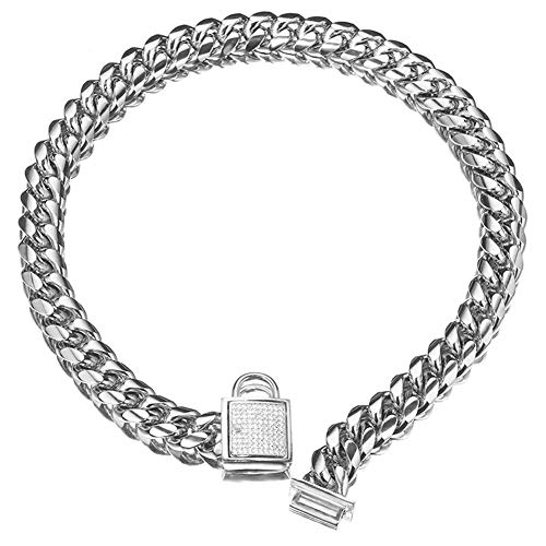 Top Dog Collar White Silver Tone Stainless Steel 14mm Big Dog Luxury Training Collar Cuban Link with Zirconia Lock Necklace Chain Choker for Dog (18 inch(for 15.1'~17' Neck))