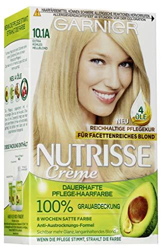 Garnier Nutrisse Creme Coloration Extra Kühles Hellblond 10.1A / Färbung für Haare für permanente Haarfarbe (mit 3 nährenden Ölen) - 3 x 1 Stück