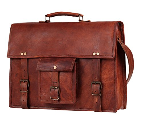 38 cm Grande hecha a mano Marron Bolso de cuero del mensajero para portátiles cada día Bolso de hombro cartera bolsa de cuerpo cruzado para college office regalo para hombre y mujer