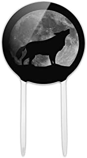 GRAPHICS & MORE Acrylic Wolf Howling Moon Silhouette Cake Topper Party Decoration for Wedding Anniversary Birthday Graduation