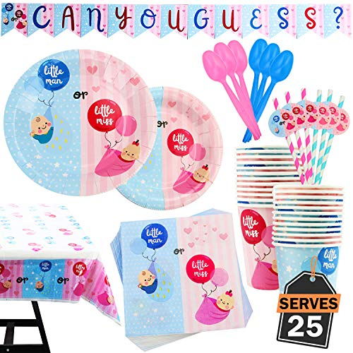 Best Price 202 Piece Gender Reveal Party Supplies Set Including Banner,Plates, Cups, Napkins, Spoons...
