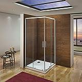 Mampara de Ducha Angular cabina de ducha mampara de ducha cuadrada Puerta Corredera Cristal 5 MM...