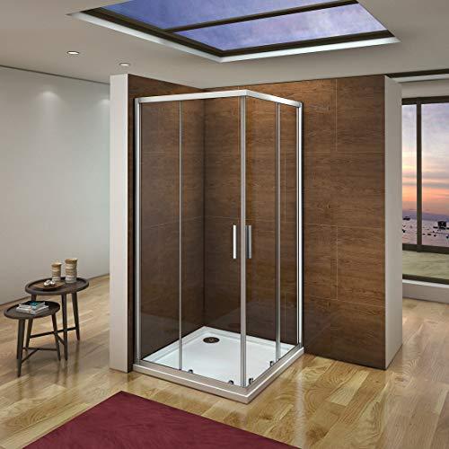 Mampara de Ducha Angular cabina de ducha mampara de ducha cuadrada Puerta Corredera Cristal 5 MM perfilería gris mate 100x80x185cm