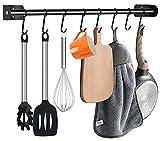 Colgador de cocina con 8 ganchos, soporte para utensilios de cocina y baño, de acero inoxidable, para utensilios de cocina, montaje en pared, autoadhesivo, 60 cm, color negro