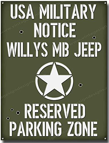 Willy's Jeep Parking Zone Qualität Metallschild