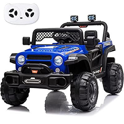 sopbost Ride on Truck for Kids 12V 7AH Battery Powered Ride on Car with Remote Control Kids Electric Vehicles Car Toddlers Ride on Toys with LED Headlights, Music Player, UBS, Blue from sopbost