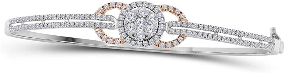 Very popular 14kt White Gold Womens Round Brace Diamond Seasonal Wrap Introduction Cluster Circle Bangle