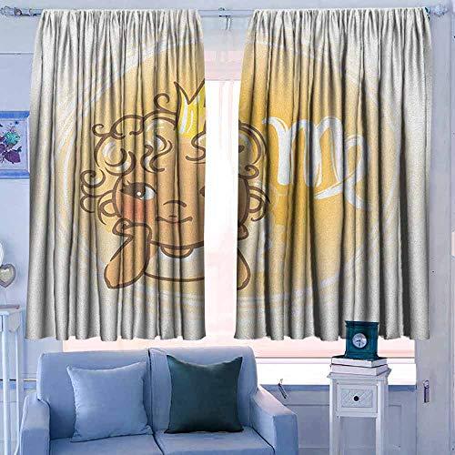 Verduisteringsgordijnen voor slaapkamer voor slaapkamer&keuken&woonkamer Maagd Astrologische sterrenbeeld met vrouw met vleugels en schattige jurk Horoscoop Vermilion Seafoam Oranje