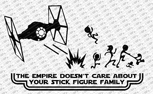 """The Empire Doesn't Care About Your Stick Figure Family Star Wars Vinyl Car Decal Sticker (10"""", White)"""