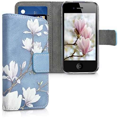 kwmobile Wallet Hülle kompatibel mit Apple iPhone 4 / 4S - Hülle mit Ständer Kartenfächer Magnolien Taupe Weiß Blaugrau