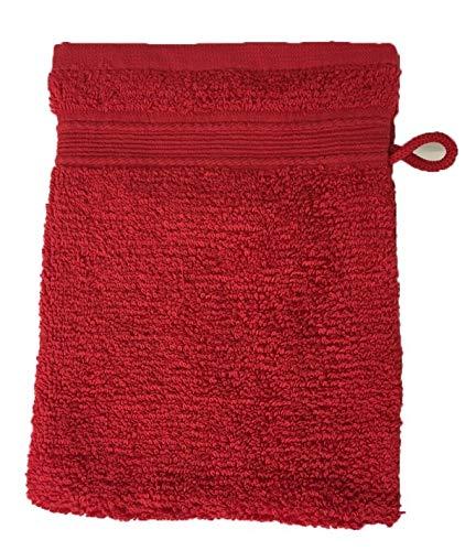 Alpes Blanc Lot de 10 Gants de Toilette Éponge 600gr/m² Coton - 20x15cm - Gants de Toilette - Rouge/Red