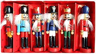 BlueSpace Christmas Nutcracker Ornaments Set Wooden Nutcrackers Hanging Decorations for Christmas Tree Figures Puppet Toy Gifts (5