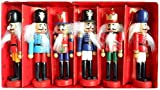 BlueSpace Christmas Nutcracker Ornaments Set Wooden Nutcrackers Hanging Decorations for Christmas Tree Figures Puppet Toy Gifts (5', Set of 6pcs)