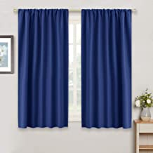 RYB HOME Blue Curtains Blackout for Bedroom - Heavy Duty Window Treatments Room Darkening Light Block Draperies Thermal Insulated for Small Windows, Wide 42 x Long 54, Marine Blue, 2 Panels