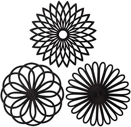 Tappetino sottopentola in silicone, tappetino sottopentola multiuso per fiori, sottobicchieri antiscivolo flessibili e resistenti isolati, set di 3 (Nero)
