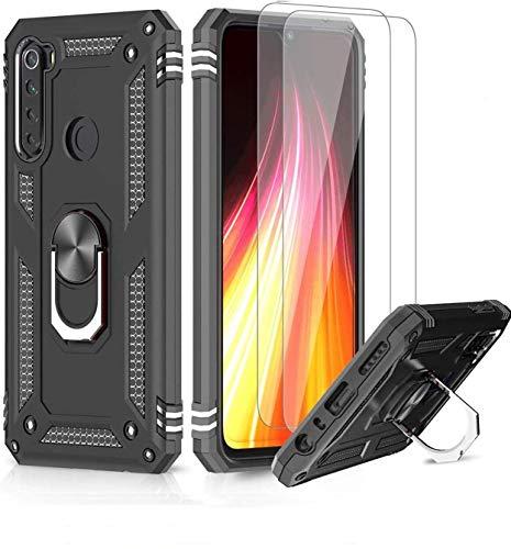 LeYi Funda Xiaomi Redmi Note 8 con [2-Unidades] Cristal Vidrio Templado,Armor Carcasa con 360 Grados Anillo iman Soporte Hard PC y Silicona TPU Bumper Antigolpes Case para Movil Note 8,Negro