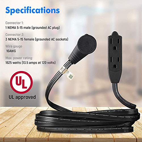 Maximm Cable 1 Ft 360° Rotating Flat Plug Extension Cord/Wire, 12 Inch Multi Outlet Extension Wire, 3 Prong Grounded Wire - Black - 3 Pack, UL Listed
