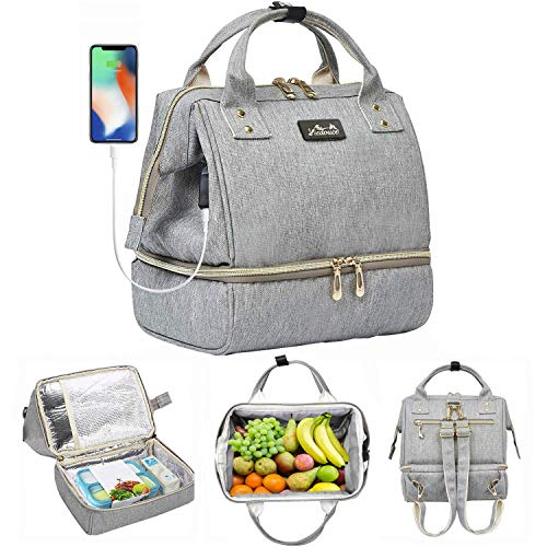 Viedouce Women's Lunch Bag Backpack Insulated Small Breast Pump Bag for Work, Gray