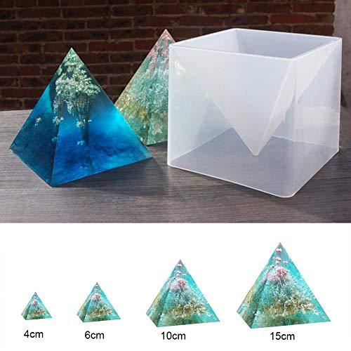 Super Groß Pyramid Silikonform, 15cm DIY Epoxidharz Handwerk Schmuck Silikon Form, Volles Dreieck + Kunststoff halterungs kasten für Gips, Wachs, Seifen