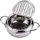 AQUIVER 3.3Qt Tempura Deep Frying Pot - Stainless Steel Deep Fryer Pot/Pan with Thermometer & Oil...