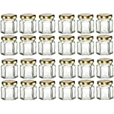 PremiumVials 24 pcs, 1.5 oz Mini Hexagon Glass Jars with GOLD lids for Jam, Honey, Wedding Favors, Shower Favors, Baby Foods, DIY Magnetic Spice Jars