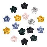 PandaHall 6 Colori 15mm Fiori Fatti A Mano all'Uncinetto 30 Pezzi Rotondi Lavorati A Maglia Ornamenti Floreali Abbellimento di Fiori per La Decorazione di Nozze Decorazioni per Feste