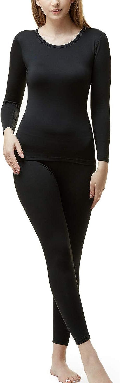 TSLA Women's Thermal Underwear Set, Soft Fleece Lined Long Johns, Winter Warm Base Layer Top & Bottom