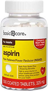 Basic Care Aspirin Regular Strength Tablets, 325mg, 500 Count