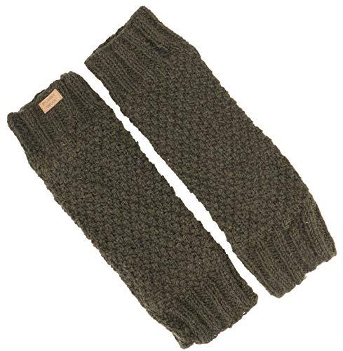Guru-Shop Wollstulpen mit Perlmuster, Strickstulpen aus Nepal, Beinstulpen, Herren/Damen, Olivgrün, Wolle, Size:One Size, Socken & Beinstulpen Alternative Bekleidung