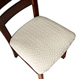 Genina Seat Covers for Dining Room Chair Seat Slipcovers Kitchen Chair Covers (Beige, 4 Pcs)