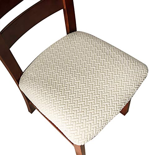Genina Seat Covers for Dining Room Chair Seat Slipcovers Kitchen Chair Covers (Beige, 6 Pcs)