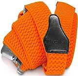 Decalen Hosenträger für Herren breit extra starken 4 cm mit 3er Clips Y Form Lang für Männer und Damen Eine Größe Passt Alle Verschiedenen Farben (Orange Neon)