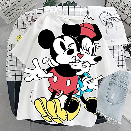 ShFhhwrl Manga Corta de Las Mujeres de la Moda Señoras de Manga Corta Cartoon Mickey Tshirt Tops Summer Casual Oversized Women T-Shirt