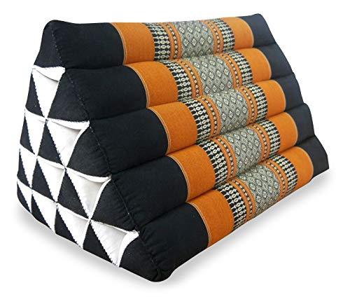 livasia Großes Dreieckskissen als Rückenstützkissen, Thaikissen BZW. Keilkissen, Nackenkissen fürs Bett (schwarz/orange)