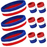 PAMASE 3 Sets Striped Sweatbands Set, Including 3 pcs Sports Headbands and 6 pcs Wristbands Cotton Sweat Band American Flag Style for Tennis Athletic Men Women